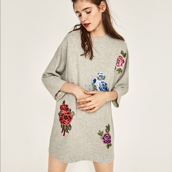 NWT  Zara floral embroidered sweatshirt dress 4538aa8f2
